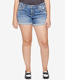 Silver Jeans Co. Plus Size Sam Boyfriend-Fit Denim Shorts