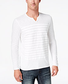 I.N.C. Men's Split-Neck Striped T-Shirt, Created for Macy's