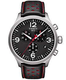 Tissot Men's Swiss Chronograph Chrono XL Black & Red Leather Strap Watch 45mm