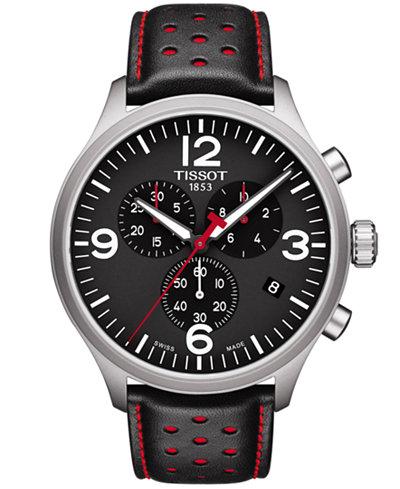 Tissot Men's Swiss Chronograph Chrono XL Black & Red Leather Strap Watch 45mm