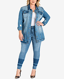 standards and practices Trendy Plus Size Ripped Denim Jacket