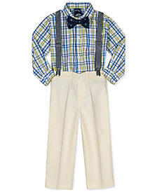 Nautica 4-Pc. Plaid Shirt, Pants, Bowtie & Suspenders Set, Baby Boys