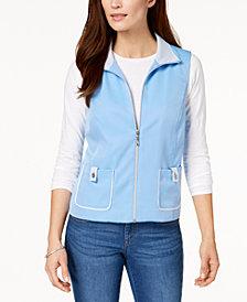 Alfred Dunner Petite Bonita Spring Mesh-Trim Zip-Up Vest