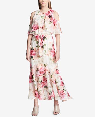 Calvin Klein Cold-Shoulder Flounce-Trim Maxi Dress