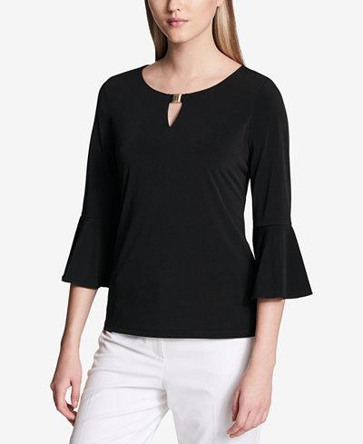 Calvin Klein Embellished 3/4-Sleeve Top