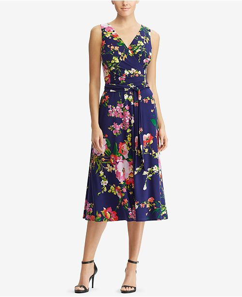 3f507fb18ebb2 Lauren Ralph Lauren Floral-Print Fit   Flare Dress   Reviews ...