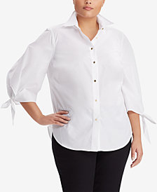 Lauren Ralph Lauren Plus Size Tie-Sleeve Cotton Shirt