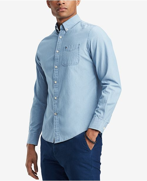 145457ac Tommy Hilfiger Men's Custom-Fit Chambray Button-Down Shirt, Created for  Macy's