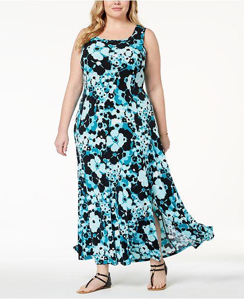 Michael Kors Plus Size Printed Maxi Tank Dress - Dresses ...