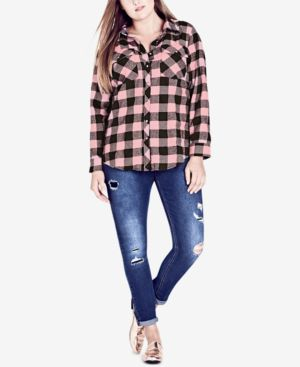 TRENDY PLUS SIZE COTTON PLAID SHIRT