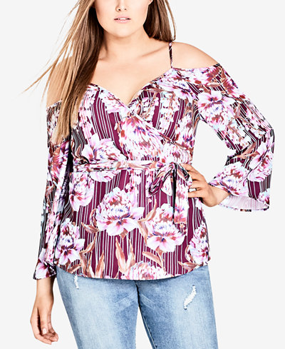 City Chic Trendy Plus Size Cold-Shoulder Faux-Wrap Top