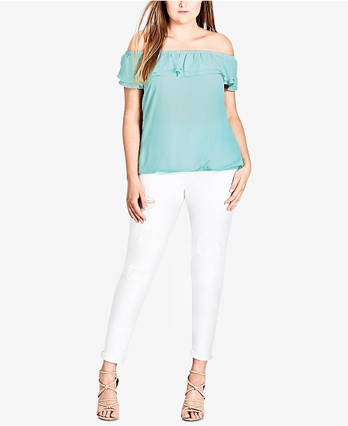 Shoulder Mint Off Size Ruffled Trendy City Plus Chic The Top CwxqvWH4n0