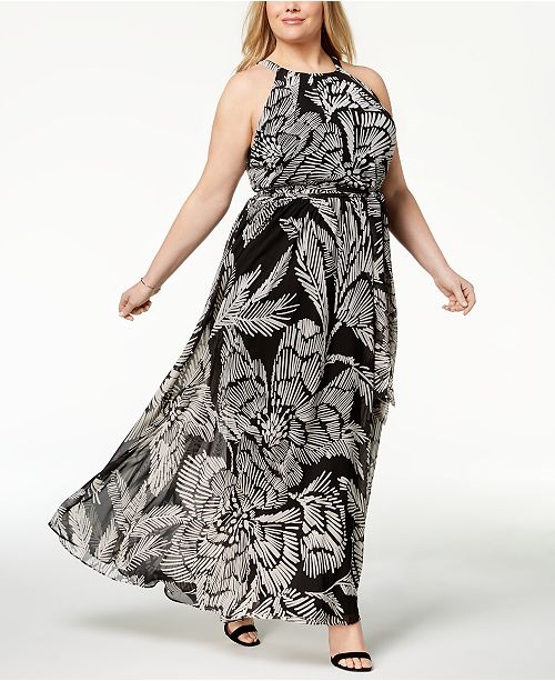 INC International Concepts I.N.C. Plus Size Printed Halter Maxi Dress ...