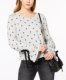 Maison Jules Bell-Sleeve Polka-Dot Top, Created for Macy's