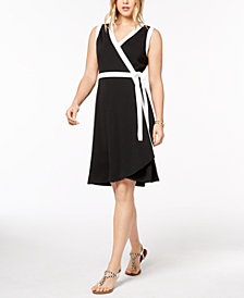Tommy Hilfiger Colorblocked Wrap Dress, Created for Macy's