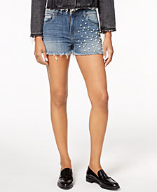 STS Blue Imitation-Pearl Denim Shorts