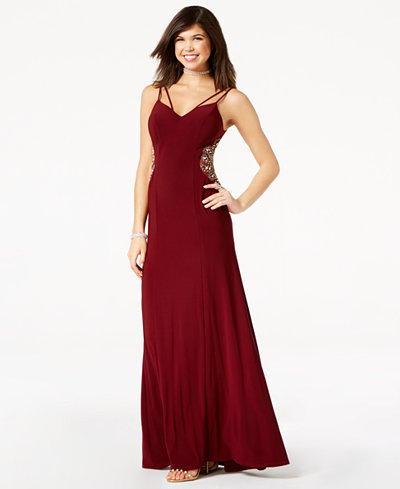 B Darlin Juniors' Embellished-Inset Strappy Gown