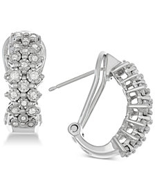 Diamond Cer Hoop Earrings 1 2 Ct T W In Sterling Silver