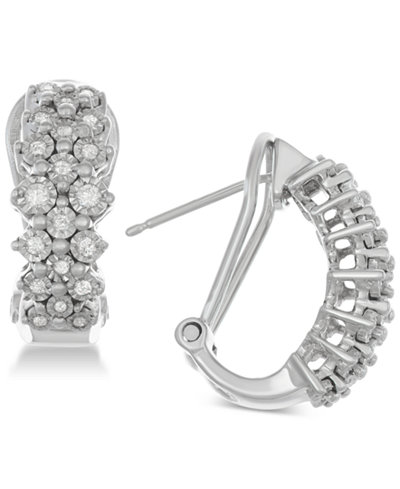 Diamond Cluster Hoop Earrings (1/2 ct. t.w.) in Sterling Silver