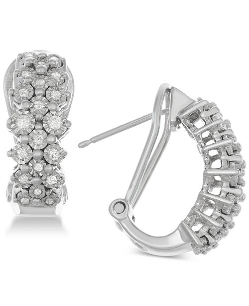 Macy's Diamond Cluster Hoop Earrings (1/2 ct. t.w.) in Sterling Silver