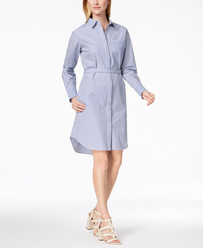 Calvin Klein Striped Cotton Shirtdress
