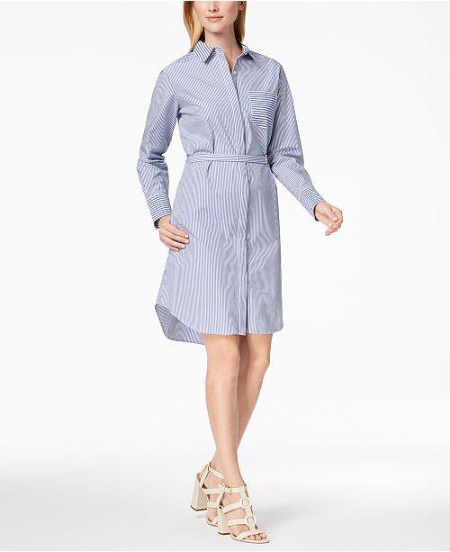 e7d5dafb9e4 Calvin Klein Striped Cotton Shirtdress  Calvin Klein Striped Cotton  Shirtdress ...