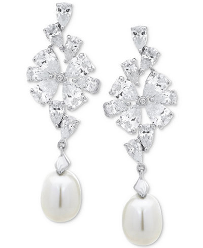 Arabella Cultured Freshwater Pearl (8mm) & Swarovski Zirconia Drop Earrings in Sterling Silver