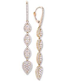 Diamond Teardrop Cluster Drop Earrings (2 ct. t.w.) in 14k Gold, Created for Macy's