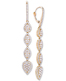 Wrapped in Love™ Diamond Teardrop Cluster Drop Earrings (2 ct. t.w.) in 14k Gold, Created for Macy's