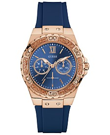 GUESS Women's Blue Silicone Strap Watch 39mm