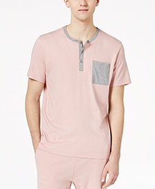 Bar III Men's Colorblocked Henley Pajama Shirt, Created for Macy's