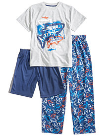 Max & Olivia 3-Pc. Graphic-Print Pajama Set, Little & Big Boys