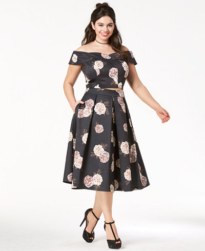City Chic Trendy Plus Size Rose-Print Off-The-Shoulder Top & Midi Skirt