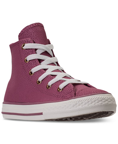 Converse Little Girls' Chuck Taylor High Top Leather Casual Sneakers from Finish Line