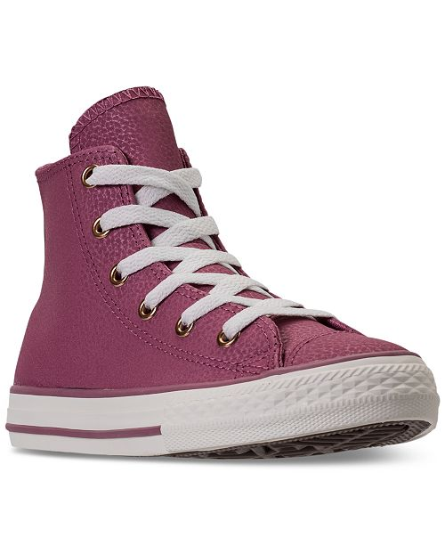 9b71318d8d9b ... Converse Little Girls  Chuck Taylor High Top Leather Casual Sneakers  from Finish ...