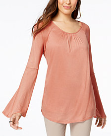 Style & Co Lantern-Sleeve Top, Created for Macy's