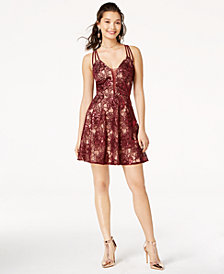 B Darlin Juniors' Strappy-Back Lace Dress