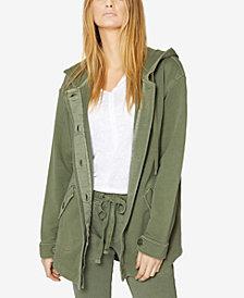 Sanctuary Cotton Button-Front Hooded Jacket