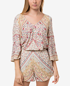O'Neill Juniors' Las Brisas Printed Lace-Up Romper