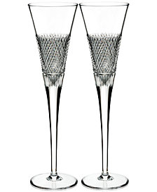 Waterford Diamond Line Flutes, Set of 2