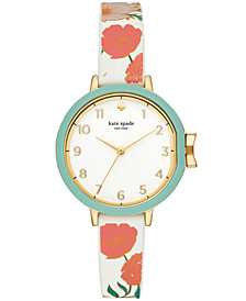 kate spade new york Women's Park Row Floral Silicone Strap Watch 34mm