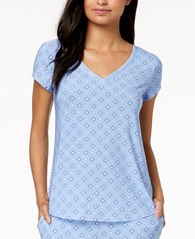 Alfani Diamond-Print Pajama Top, Created for Macy's