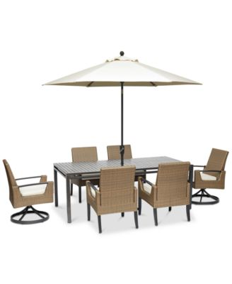 """Genevieve Outdoor Aluminum & Wicker 7-Pc. Dining Set (84"""" x 42"""" Dining Table, 4 Dining Chairs and 2 Swivel Rockers) with Sunbrella® Cushions, Created for Macy's"""