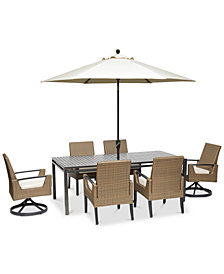 "CLOSEOUT! Genevieve Outdoor Aluminum & Wicker 7-Pc. Dining Set (84"" x 42"" Dining Table, 4 Dining Chairs and 2 Swivel Rockers) with Sunbrella® Cushions, Created for Macy's"