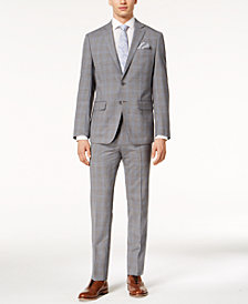 CLOSEOUT! Tallia Orange Men's Slim-Fit Gray/Blue Plaid Suit