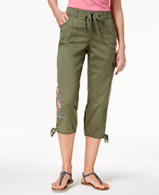 Style & Co Petite Embroidered Cargo Carpi Pants, Created for Macy's