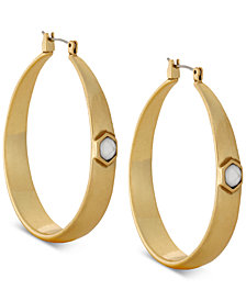Lucky Brand Gold-Tone Imitation Mother-of-Pearl Stone Hoop Earrings