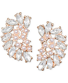 Jewel Badgley Mischka Crystal & Imitation Pearl Arch Stud Earrings