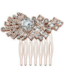 Jewel Badgley Mischka Rose Gold-Tone Crystal Hair Comb