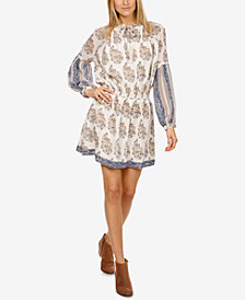 Lucky Brand Mixed-Print Peasant Dress